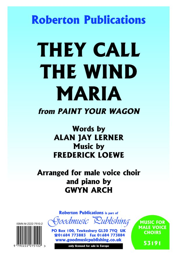 They Call the Wind Maria (arr.Arch) image