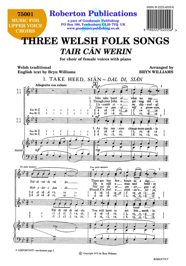 Three Welsh Folksongs image