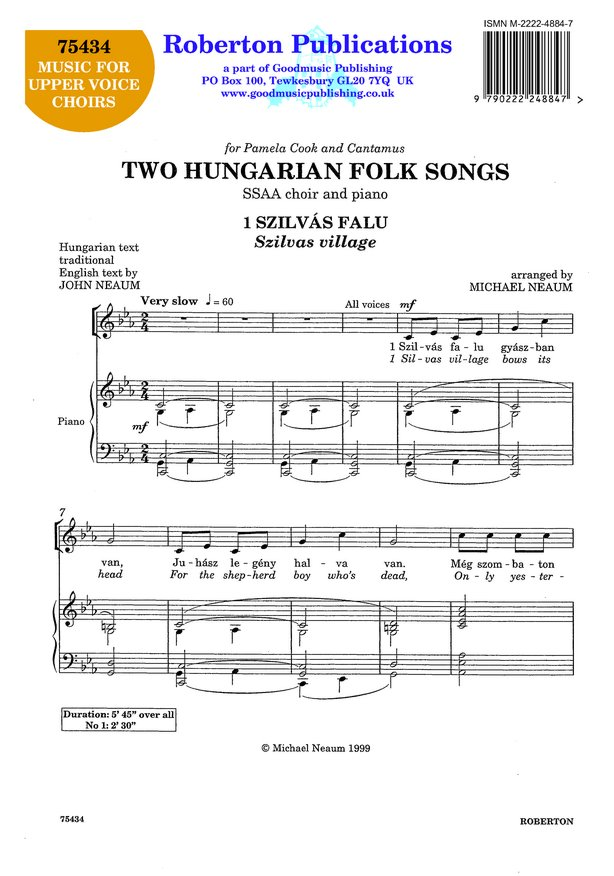 Two Hungarian Folk Songs image