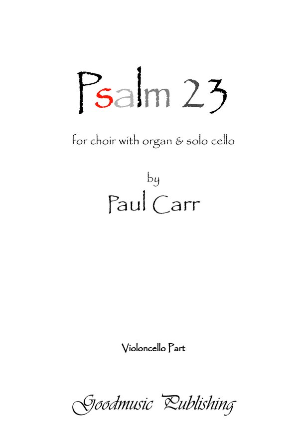 Psalm 23 Solo cello part image